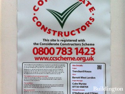 Considerate Constructors scheme poster for Trenchard House.