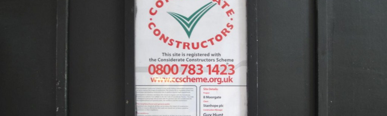 The Banking Hall Considerate Constructors banner at 8-10 Moorgate.