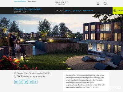 Screen capture of Camden Courtyards on Barratt Homes website