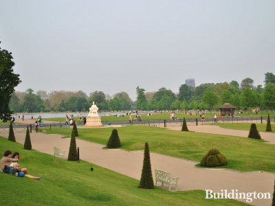 Kensington Palace. View to the east from the Palace Gardens