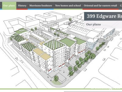 Screen capture of the 399 Edgware Road development website at www.399edgwareroad.co.uk in May 2013.