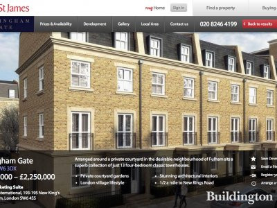 Screen capture of Hurlingham Gate development page on St James' website.