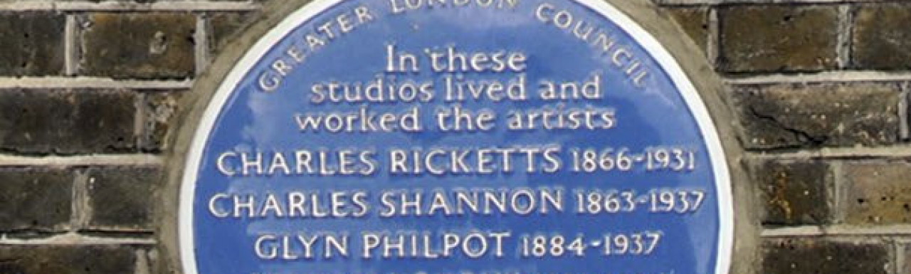 The blue plaque on Lansdowne House says: In these studios lived and worked the artists: Charles Ricketts, Charles Shannon, Glyn Philpot, Vivian Forbes, James Pryde and F. Gayley Robinson.