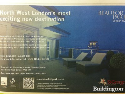 Beaufort Park advertisement in Homes & Property section of Evening Standard newspaper 14. November 2012 issue