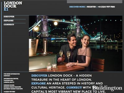 Screen capture of London Dock website at Londondock.co.uk