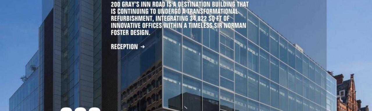 Screen capture of 200 Gray's Inn Road website at 200graysinn.co.uk