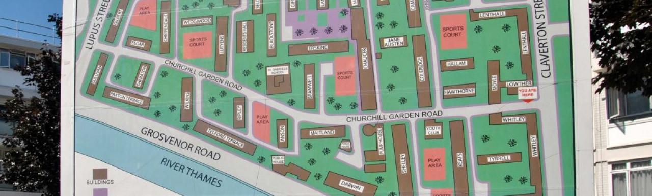 Churchill Gardens estate plan.