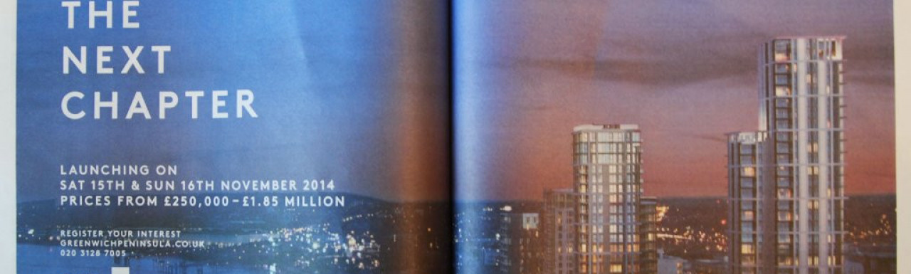 Advertisement for Greenwich Peninsula at Homes & Property, Evening Standard, 12. November 2014