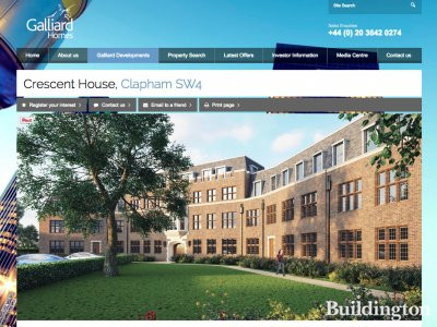 Screen capture of Crescent House residential development page at www.galliardhomes.com/crescent-house.