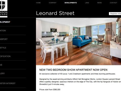 Screen capture of Leonard Street development on London Square website at www.londonsquare.co.uk