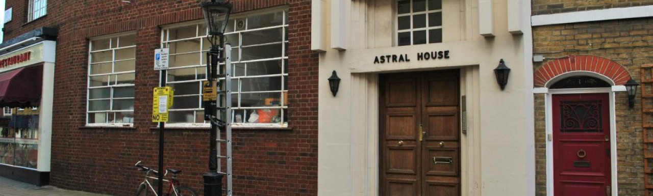Astral House art deco influenced entrance on Maunsel Street.