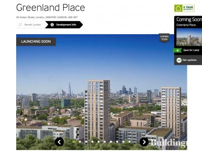Screen capture of Greenland Place page on Barratt Homes website Barratthomes.co.uk