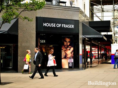 Entrance to House of Fraser department store from Oxford Street in the Summer of 2011