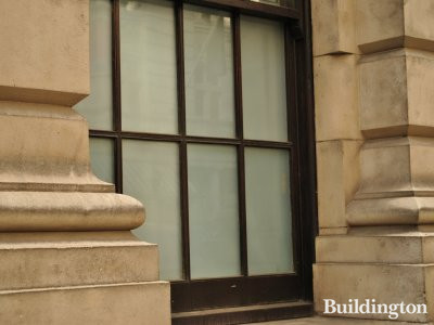 Old War Office Building window on street level.