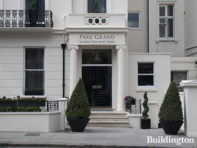 Entrance to Park Grand London Lancaster Gate hotel on Craven Hill.