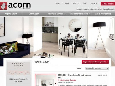 Screen capture of Randall Court page on Acorn New Homes website www.acornnewhomes.co.uk