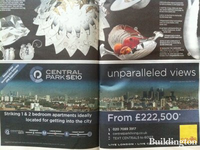Image of Central Park development advertisement in Evening Standard's Homes & Property section