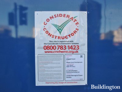 Considerate Constructors poster at Aldgate Tower development site.