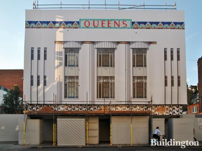 Queens facade covered up.