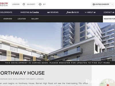Screen capture of Northway House page on Redrow website.