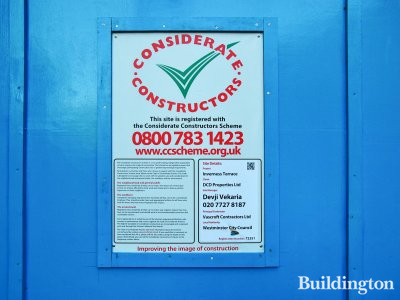 Considerate Constructors poster at Inverness Terrace in July 2013.