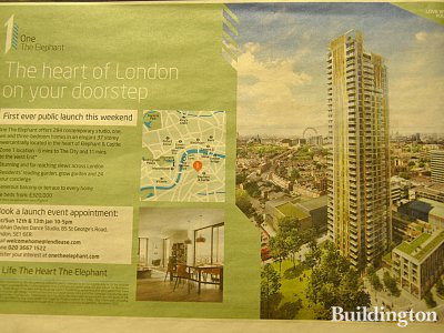 One The Elephant development advertisement in Homes & Property section of The Evening Standard newspaper on 9. January 2012