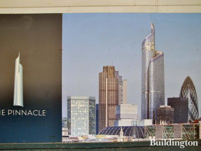 Poster with the CGI of The Pinnacle building.