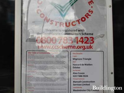 Considerate Constructors Scheme poster at 74 Wigmore Street.