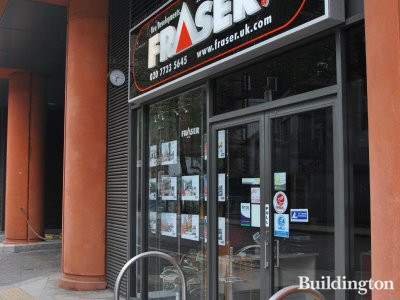 Fraser & Co estate agency office at West End Quay. Entrance on South Wharf Road just off Praed Street.