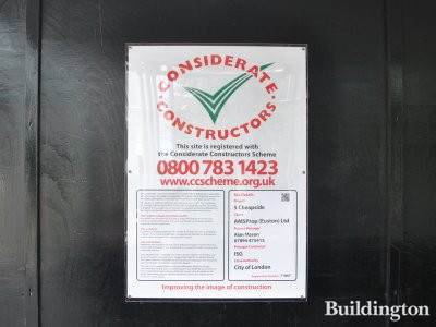 5 Cheapside development, Considerate Constructors poster on the site in September 2013.