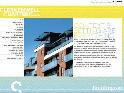 Screen capture of Clerkenwell Quarter website at www.clerkenwellquarter.com