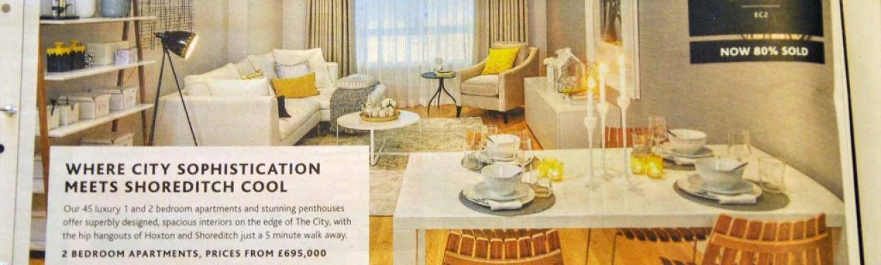 Leonard Street development advertisement in Homes & Property, Evening Standard 27.02.2013