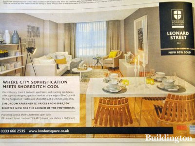 Leonard Street development advertisement in Homes & Property, Evening Standard 27.02.2013