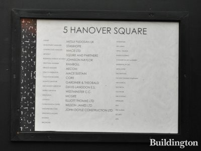 5 Hanover Square contractor list.