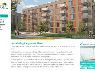 Screen capture of Langhorne Place website at www.langhorneplace.co.uk in May 2013