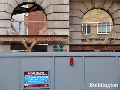 77 South Audley Street development the Edwardian facade with Pasquale Paoli commemorative green plaque.
