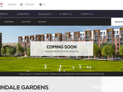 Screen capture of Colindale Gardens page on Redrow website