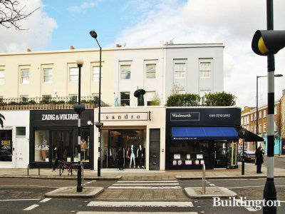 Sandro at 180 Westbourne Grove, next to Winkworth estate agents and Zadig & Voltairi.
