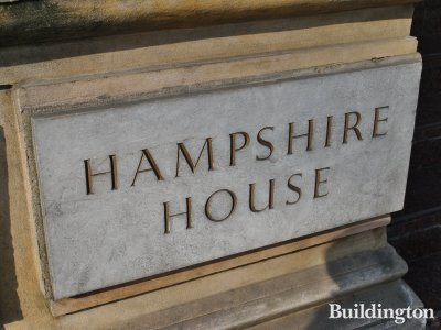 Hampshire House nameboard.