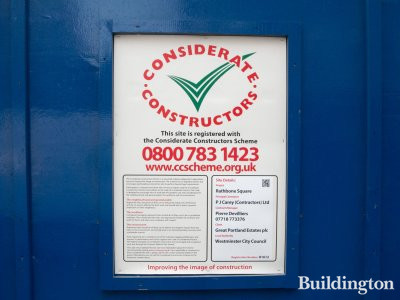 Considerate Constructors banner at Rathbone Square development.