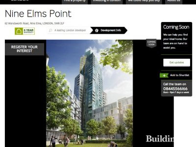 Screen capture of Nine Elms Point page on Barratt Homes website at www.barratthomes.co.uk
