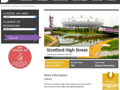 Screen capture of Stratford High Street development page on Family Mosaic website.