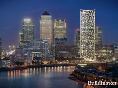 CGI of Newfoundland tower in Canary Wharf, London E14.