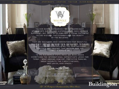 Screen capture of Walpole Mayfair development website at Walpolemayfair.com