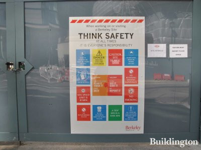 Berkeley Group's safety notice at Abell House construction site in May 2013.