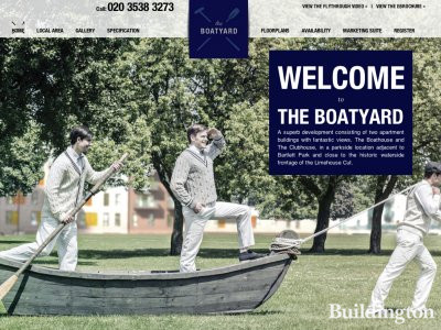 Screen capture of The Boatyard development website at telfordhomes.plc.uk/the-boatyard
