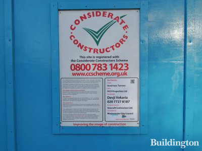 Considerate Constructors banner at Inverness Terrace development site.