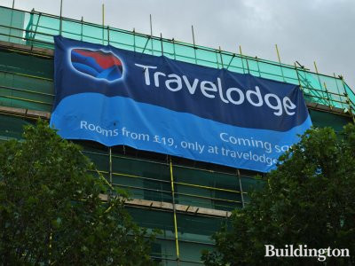 Travelodge banner at 231-237 Cambridge Heath Road