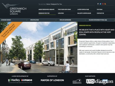 Screen capture of Greenwich Square website at Greenwichsquare-london.com.