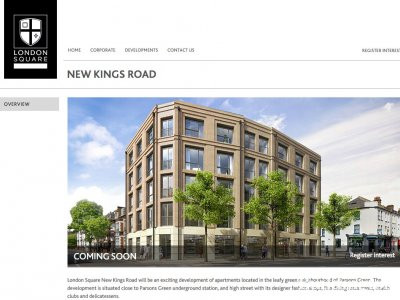Screen capture of New Kings Road development on London Square website
